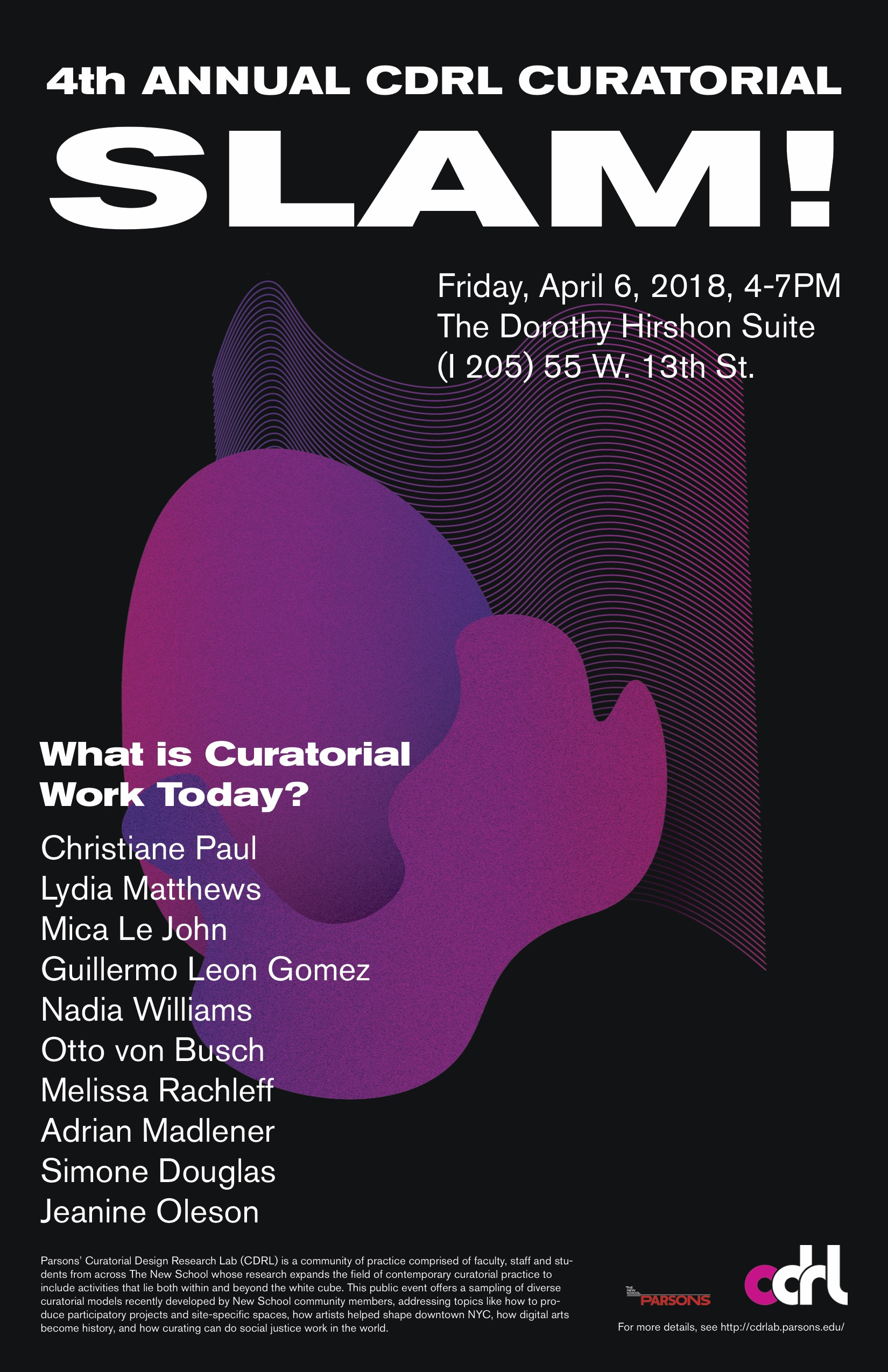 4th Annual CDRL Curatorial Slam! April 6, 2018, 4-7pm